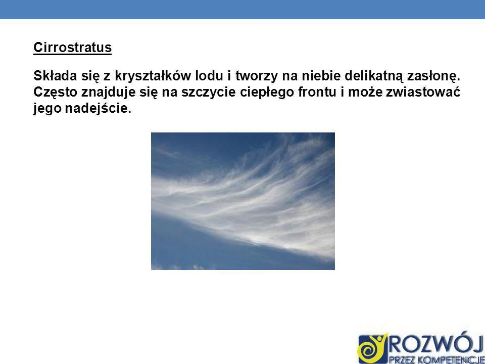 Cirrostratus Składa się z kryształków lodu i tworzy na niebie delikatną zasłonę.