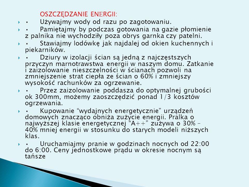 OSZCZĘDZANIE ENERGII: