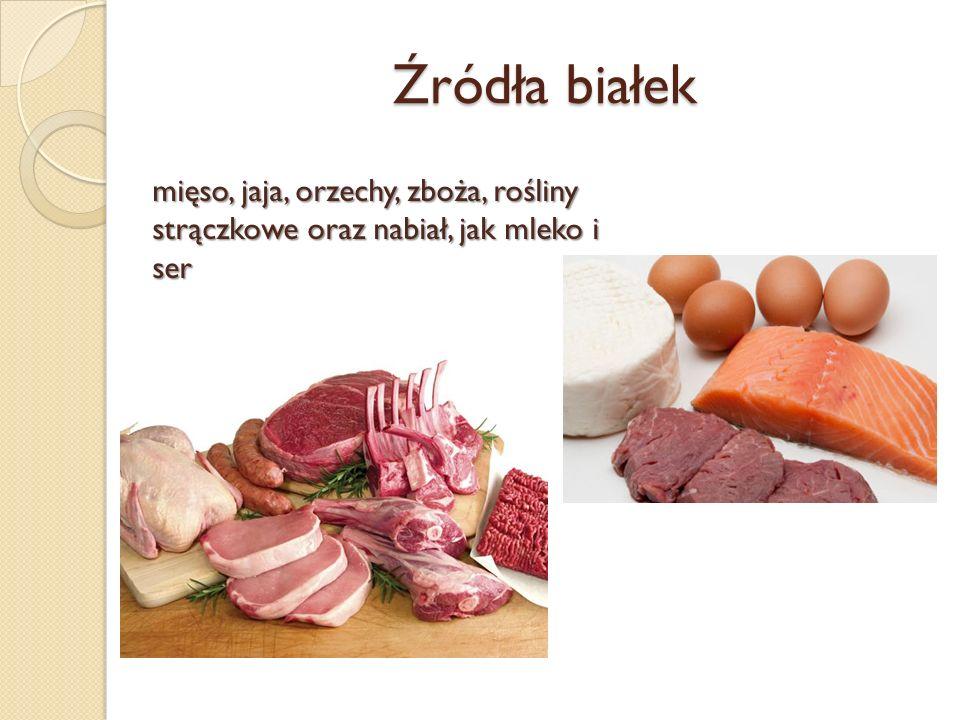 Źródła białek mięso, jaja, orzechy, zboża, rośliny strączkowe oraz nabiał, jak mleko i ser - ser