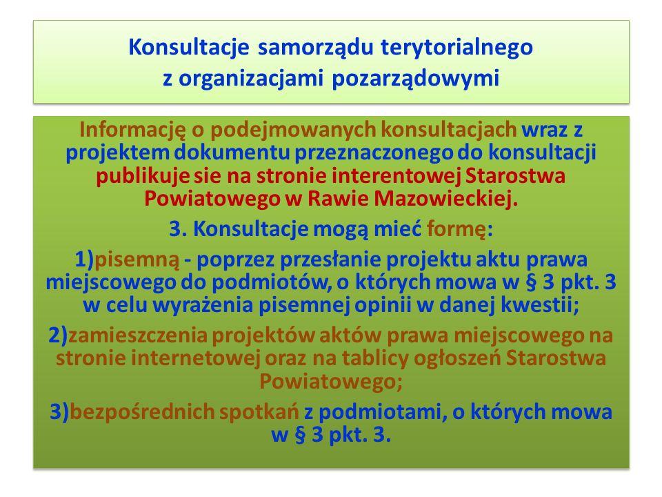 Konsultacje samorządu terytorialnego z organizacjami pozarządowymi
