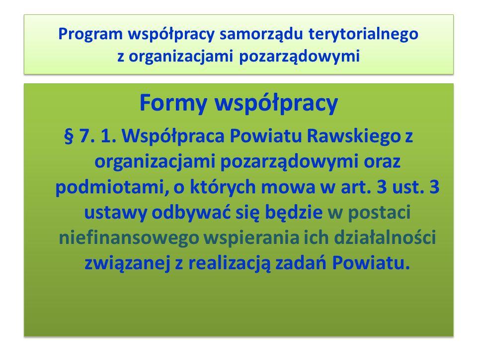 Program współpracy samorządu terytorialnego z organizacjami pozarządowymi