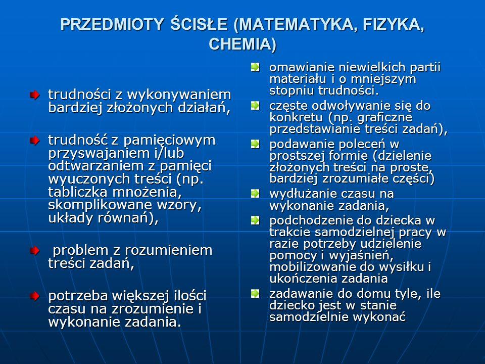 PRZEDMIOTY ŚCISŁE (MATEMATYKA, FIZYKA, CHEMIA)