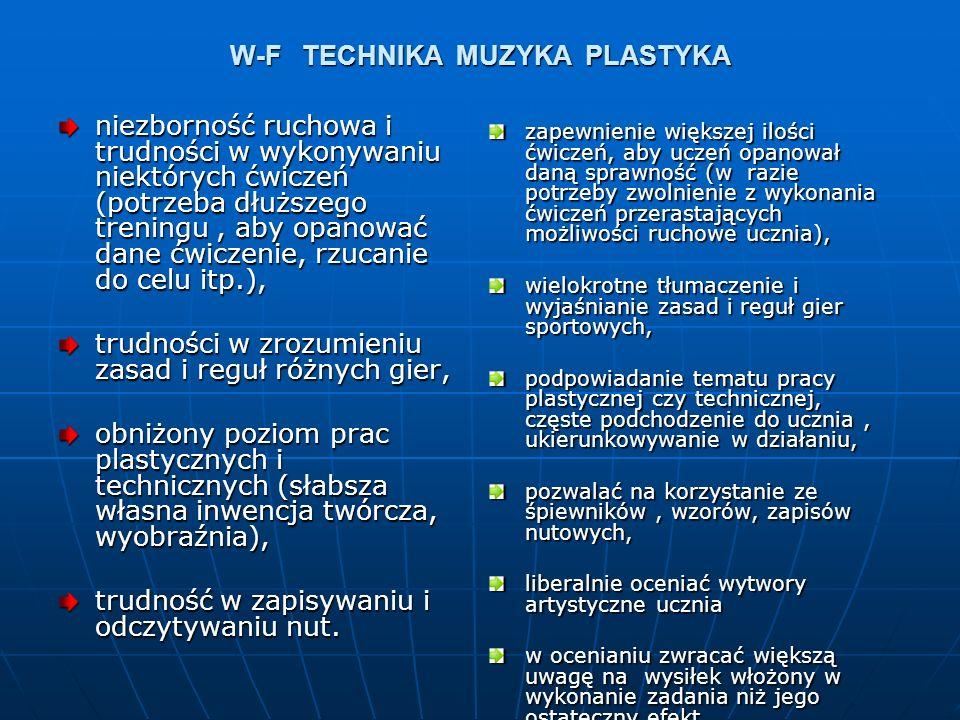 W-F TECHNIKA MUZYKA PLASTYKA