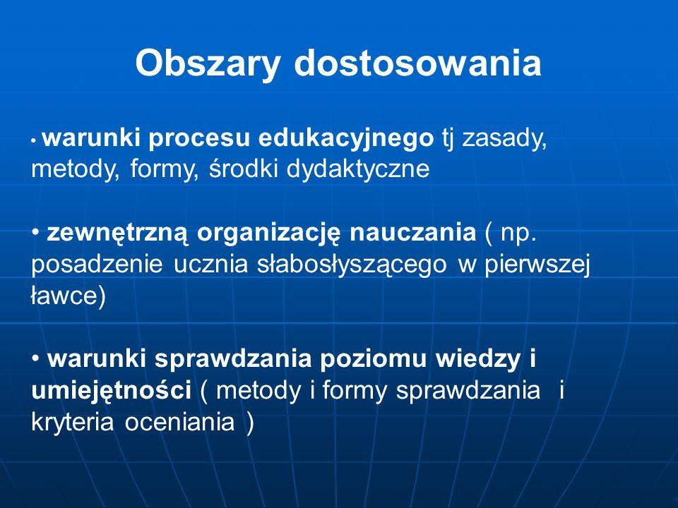 Obszary dostosowania warunki procesu edukacyjnego tj zasady, metody, formy, środki dydaktyczne.