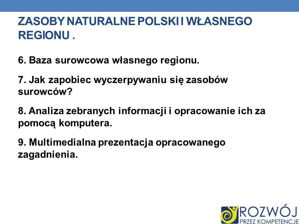 Zasoby naturalne Polski i własnego regionu .