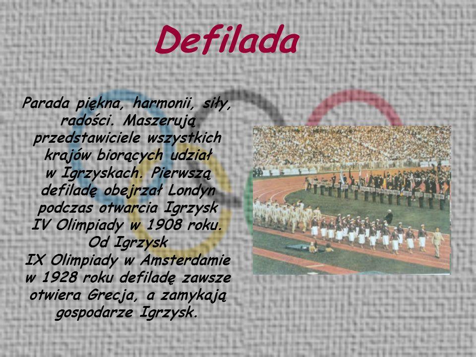Defilada Parada piękna, harmonii, siły, radości. Maszerują przedstawiciele wszystkich krajów biorących udział.