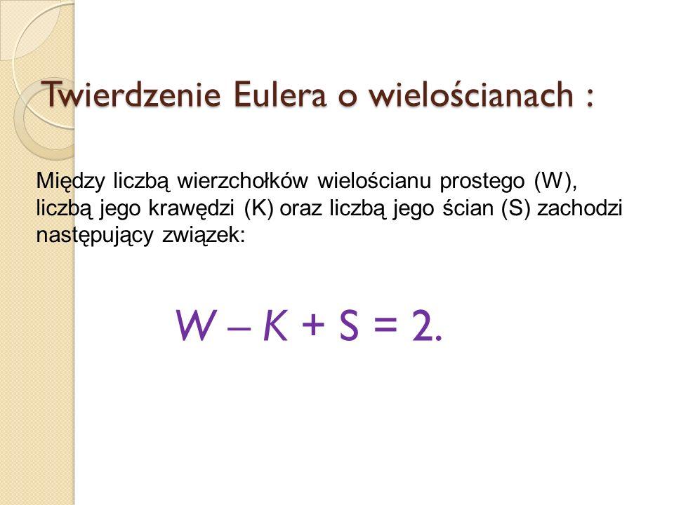 Twierdzenie Eulera o wielościanach :
