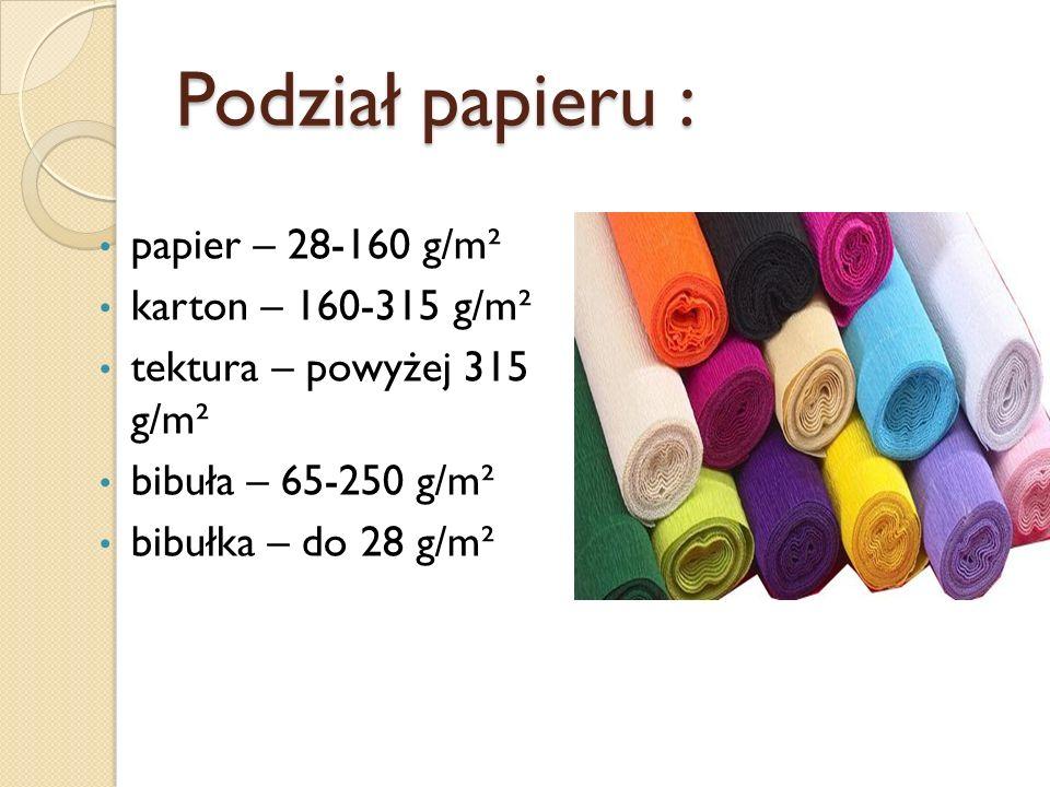 Podział papieru : papier – 28-160 g/m² karton – 160-315 g/m²