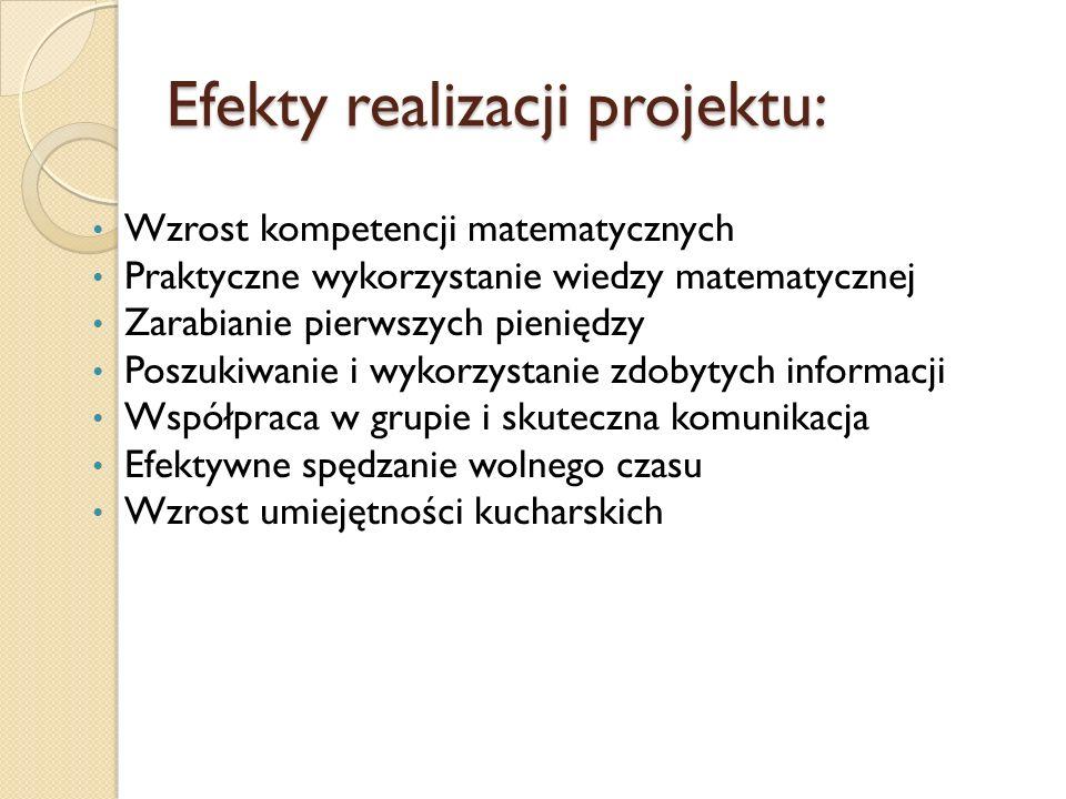 Efekty realizacji projektu: