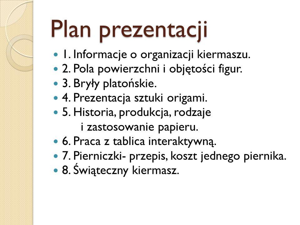 Plan prezentacji 1. Informacje o organizacji kiermaszu.