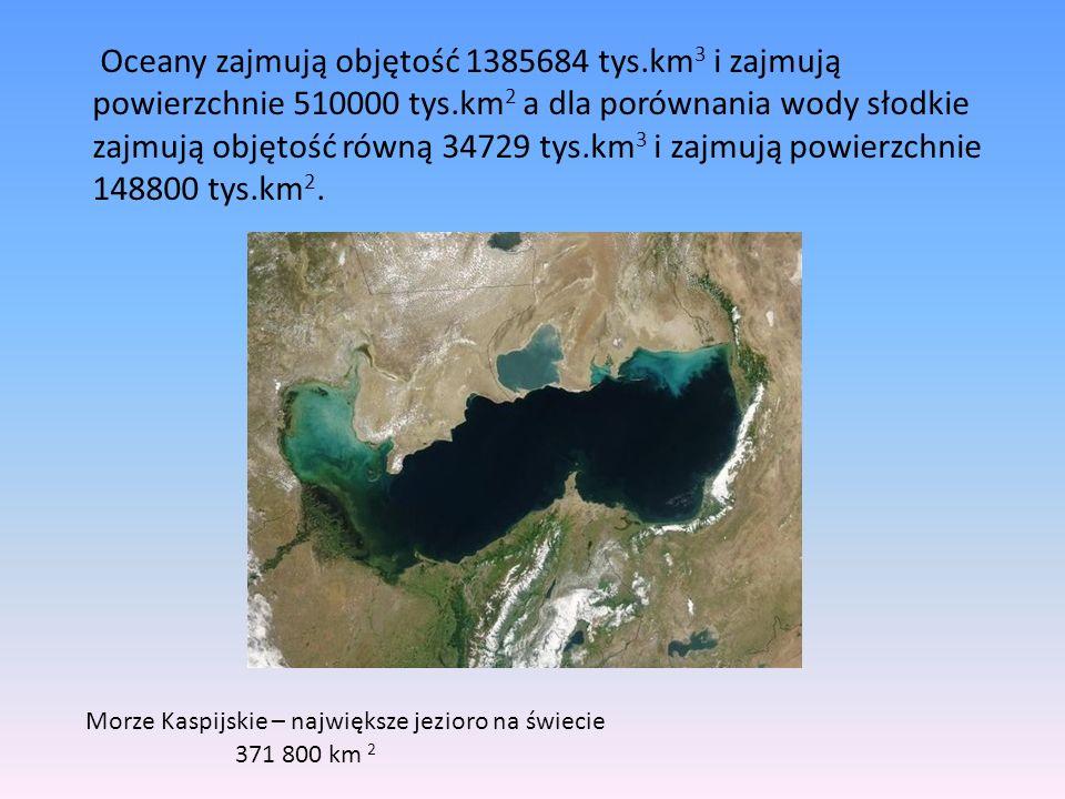 Oceany zajmują objętość 1385684 tys