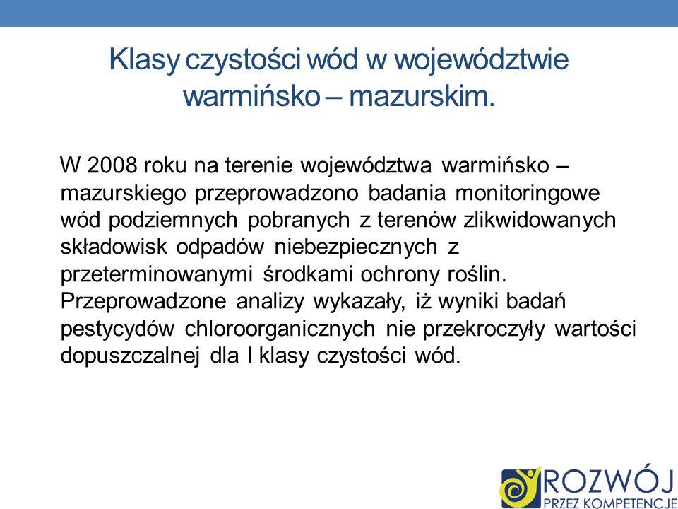 Klasy czystości wód w województwie warmińsko – mazurskim.