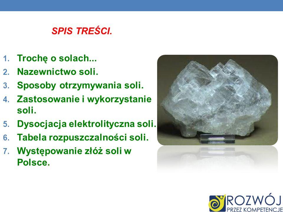 SPIS TREŚCI. Trochę o solach... Nazewnictwo soli. Sposoby otrzymywania soli. Zastosowanie i wykorzystanie soli.