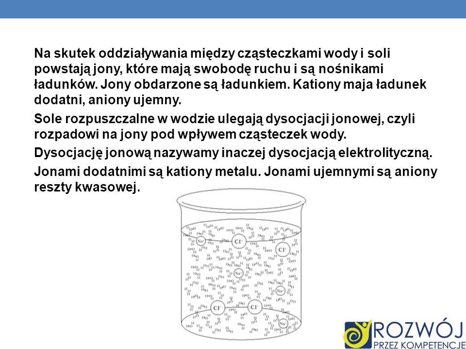 Na skutek oddziaływania między cząsteczkami wody i soli powstają jony, które mają swobodę ruchu i są nośnikami ładunków. Jony obdarzone są ładunkiem. Kationy maja ładunek dodatni, aniony ujemny.