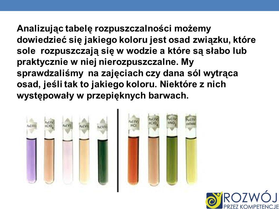 Analizując tabelę rozpuszczalności możemy dowiedzieć się jakiego koloru jest osad związku, które sole rozpuszczają się w wodzie a które są słabo lub praktycznie w niej nierozpuszczalne.