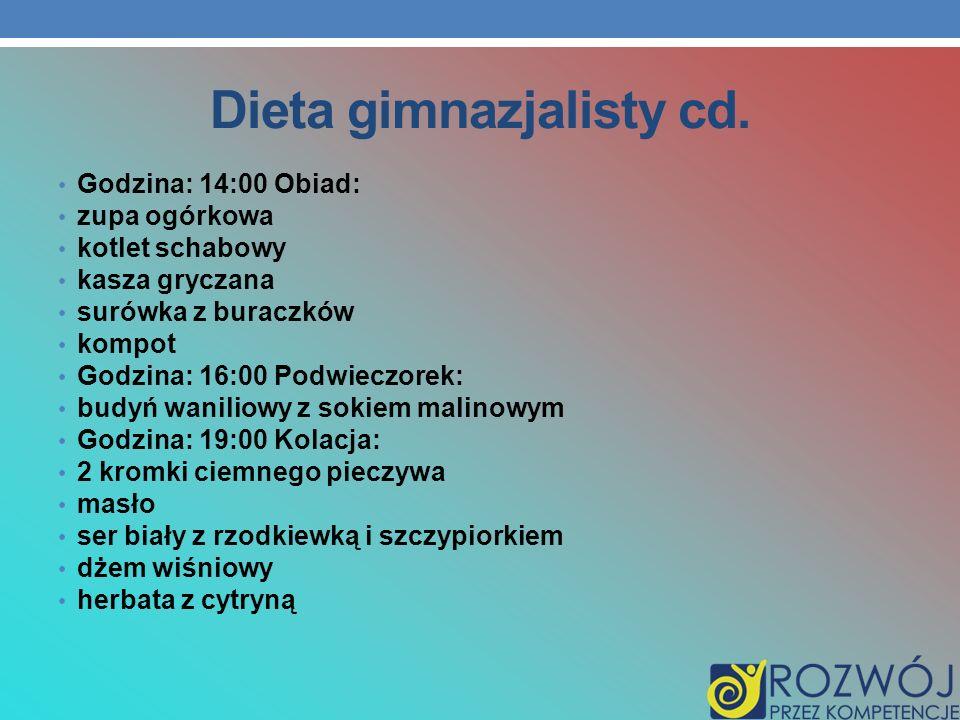 Dieta gimnazjalisty cd.