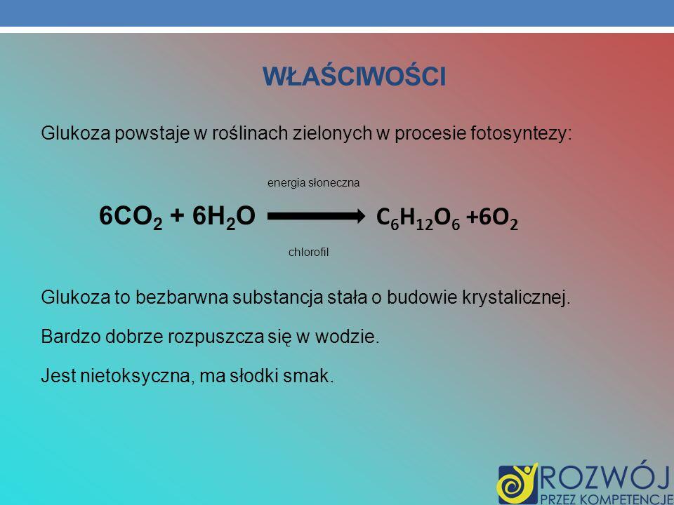 WŁAŚCIWOŚCI 6CO2 + 6H2O C6H12O6 +6O2