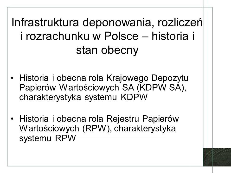 Infrastruktura deponowania, rozliczeń i rozrachunku w Polsce – historia i stan obecny
