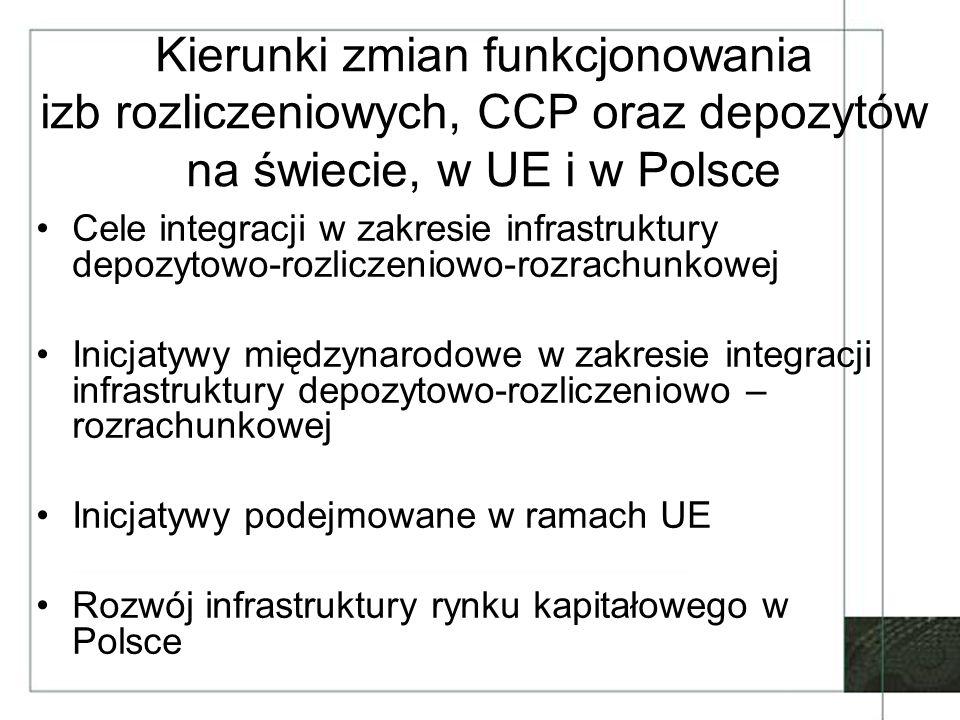 Kierunki zmian funkcjonowania izb rozliczeniowych, CCP oraz depozytów na świecie, w UE i w Polsce