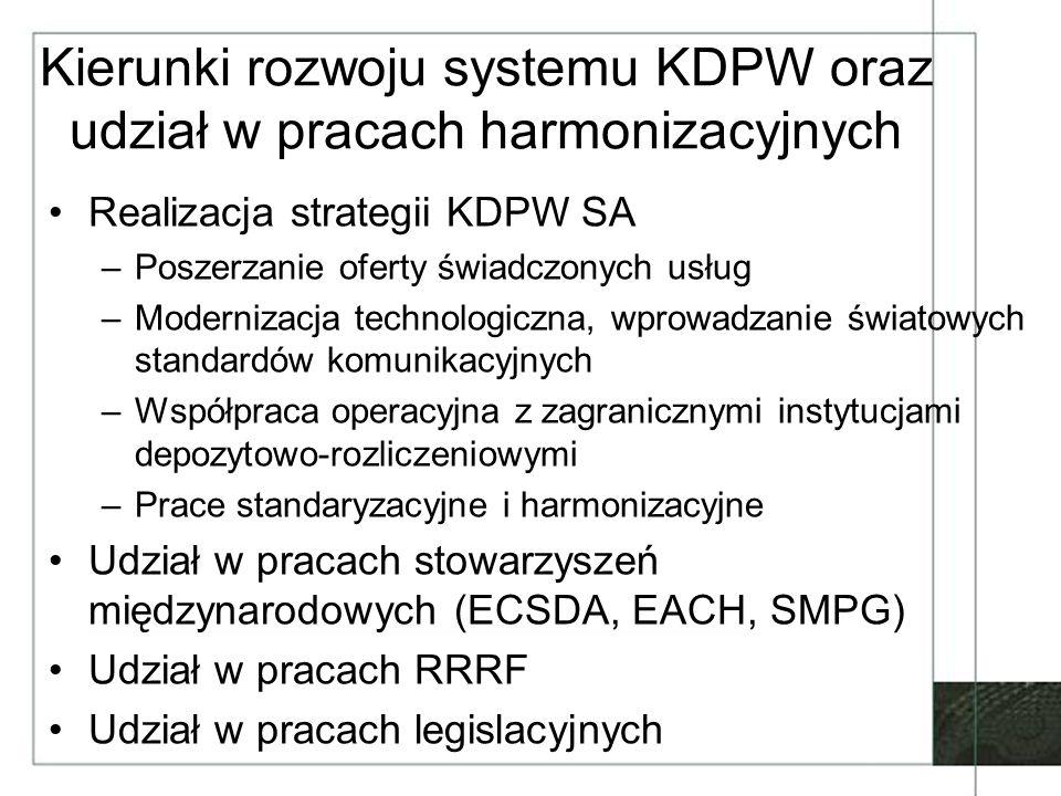 Kierunki rozwoju systemu KDPW oraz udział w pracach harmonizacyjnych