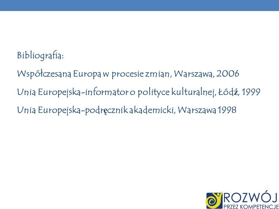 Bibliografia:Współczesana Europa w procesie zmian, Warszawa, 2006. Unia Europejska-informator o polityce kulturalnej, Łódź, 1999.