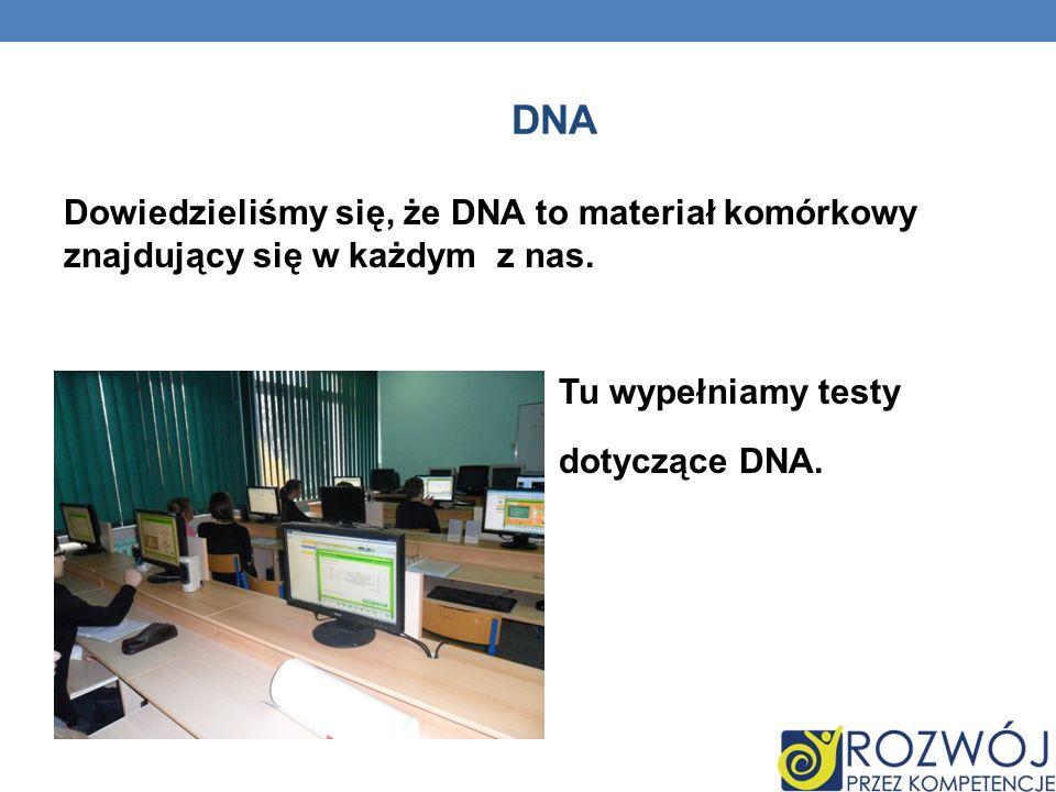 DNA Dowiedzieliśmy się, że DNA to materiał komórkowy znajdujący się w każdym z nas.