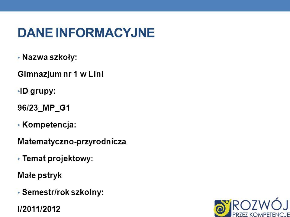 DANE INFORMACYJNE Nazwa szkoły: Gimnazjum nr 1 w Lini ID grupy: