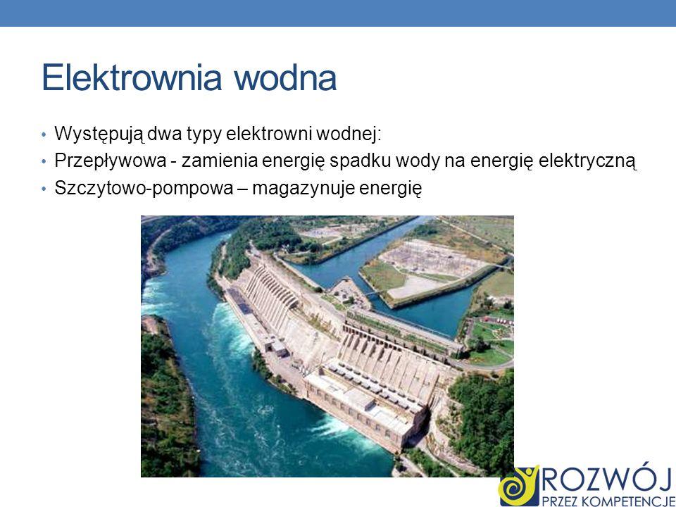 Elektrownia wodna Występują dwa typy elektrowni wodnej: