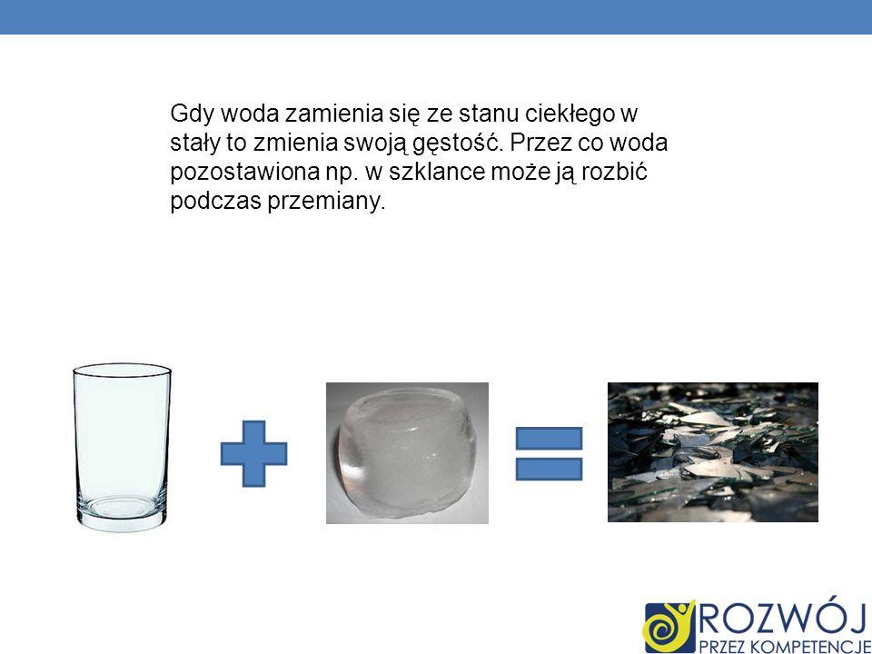 Gdy woda zamienia się ze stanu ciekłego w stały to zmienia swoją gęstość.