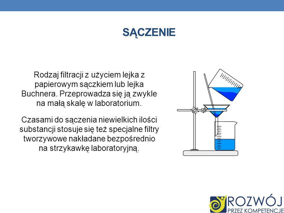 Sączenie Rodzaj filtracji z użyciem lejka z papierowym sączkiem lub lejka Buchnera. Przeprowadza się ją zwykle na małą skalę w laboratorium.