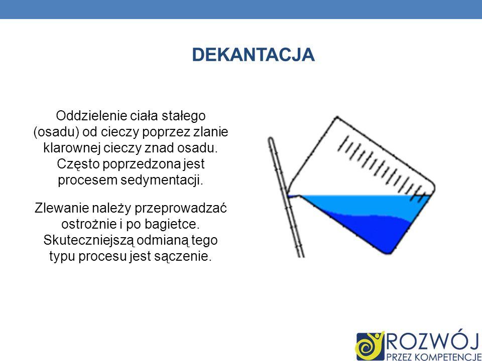 Dekantacja Oddzielenie ciała stałego (osadu) od cieczy poprzez zlanie klarownej cieczy znad osadu. Często poprzedzona jest procesem sedymentacji.