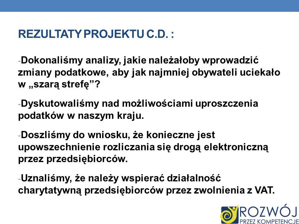 Rezultaty projektu c.d. :