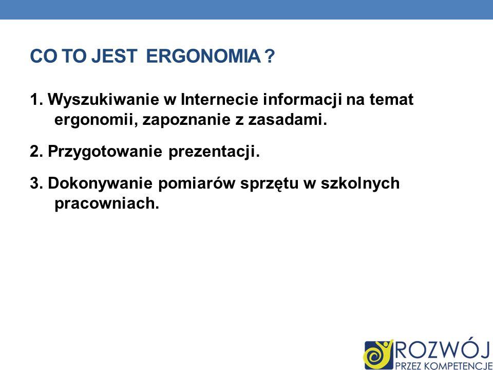 Co to jest Ergonomia 1. Wyszukiwanie w Internecie informacji na temat ergonomii, zapoznanie z zasadami.