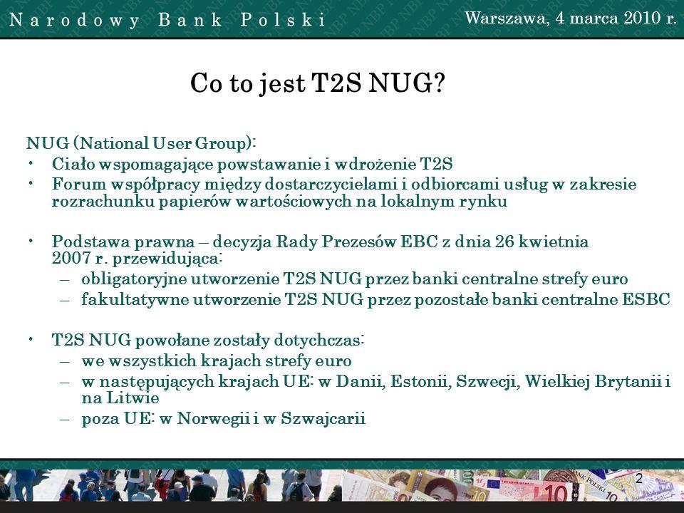 Co to jest T2S NUG Warszawa, 4 marca 2010 r.