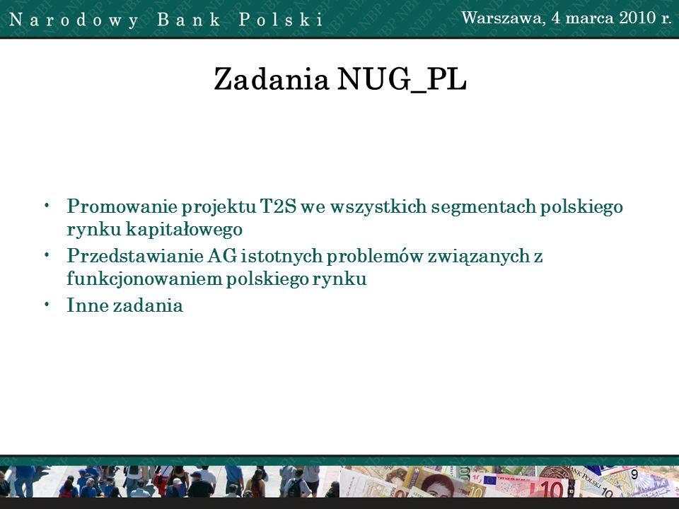 Warszawa, 4 marca 2010 r. Zadania NUG_PL. Promowanie projektu T2S we wszystkich segmentach polskiego rynku kapitałowego.