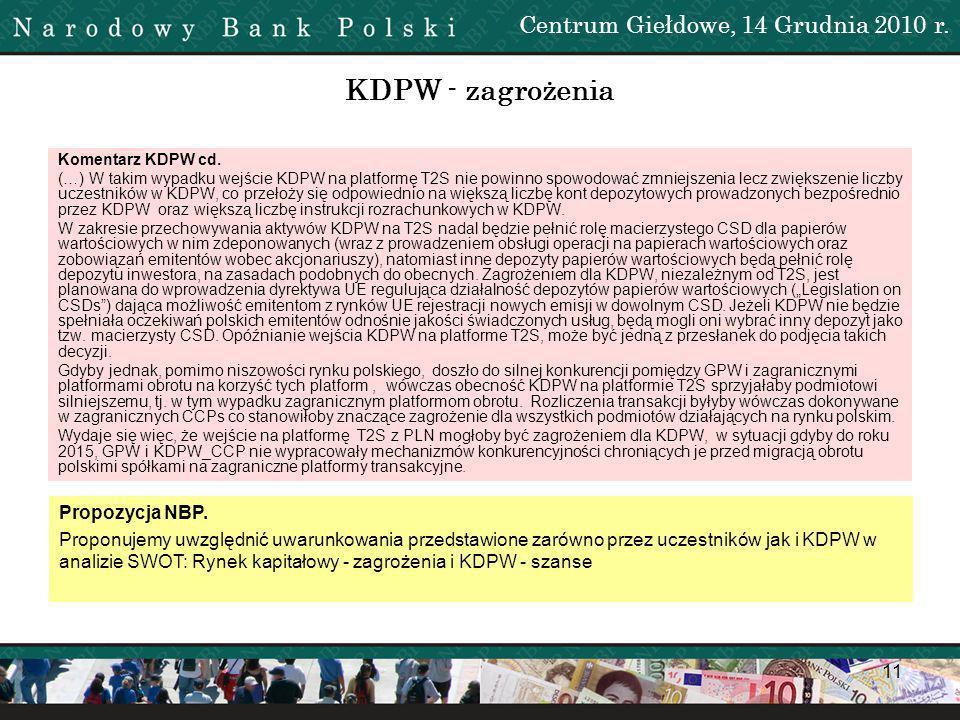 KDPW - zagrożenia Centrum Giełdowe, 14 Grudnia 2010 r. Propozycja NBP.