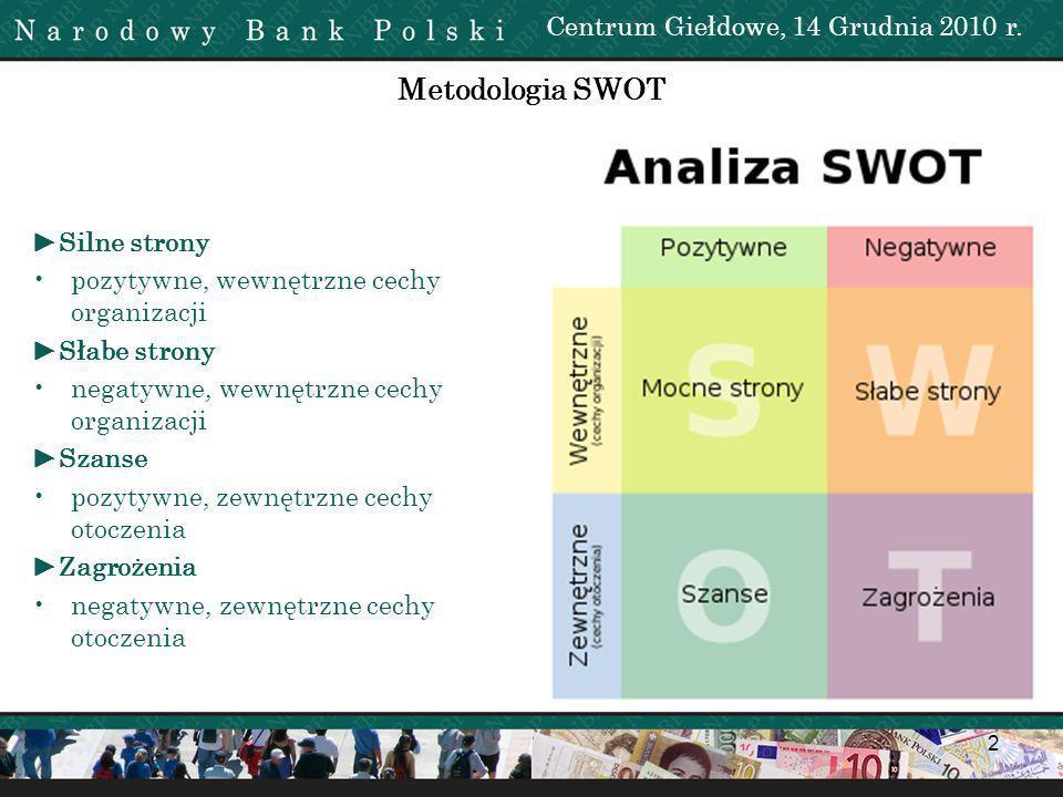 Metodologia SWOT Centrum Giełdowe, 14 Grudnia 2010 r. ►Silne strony