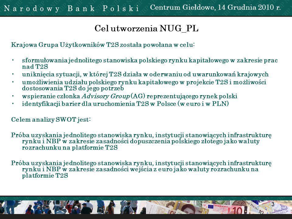 Cel utworzenia NUG_PL Centrum Giełdowe, 14 Grudnia 2010 r.