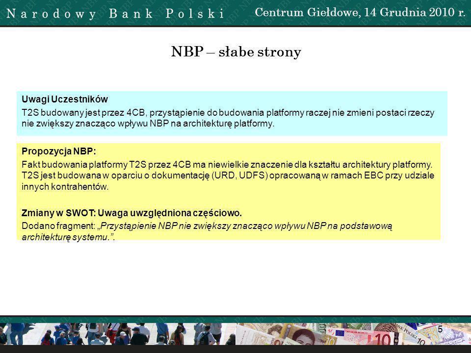NBP – słabe strony Centrum Giełdowe, 14 Grudnia 2010 r. 1