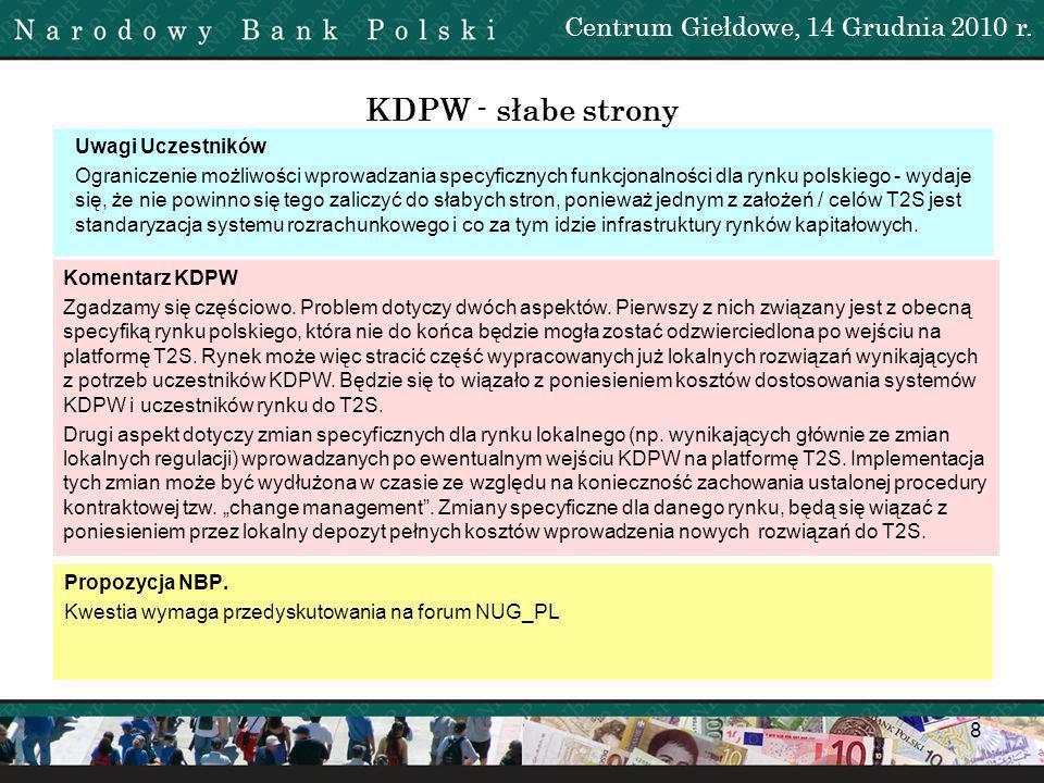 KDPW - słabe strony Centrum Giełdowe, 14 Grudnia 2010 r.