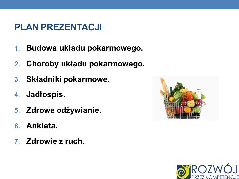 Plan prezentacji Budowa układu pokarmowego.