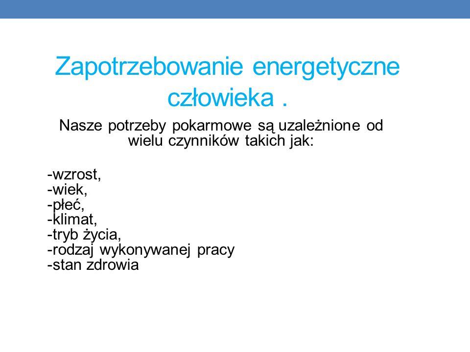 Zapotrzebowanie energetyczne człowieka .