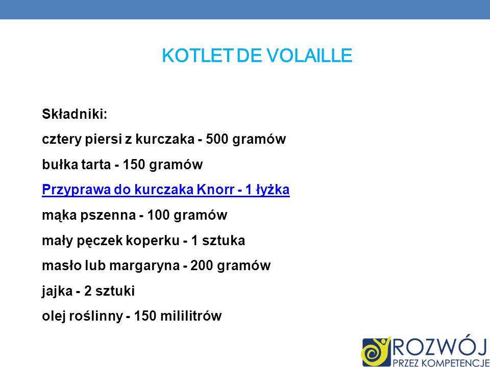 Kotlet De Volaille Składniki: cztery piersi z kurczaka - 500 gramów