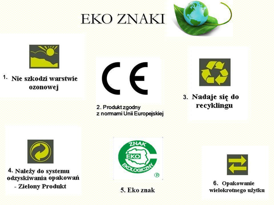 EKO ZNAKI 5. Eko znak 3. 4. 6. 1. 2. Produkt zgodny