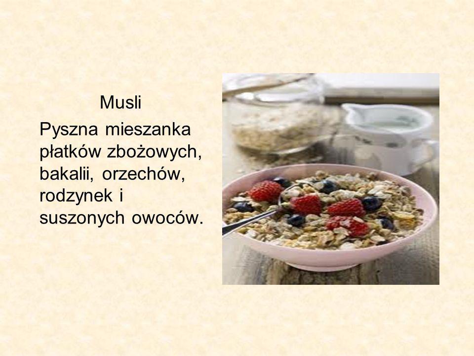 Musli Pyszna mieszanka płatków zbożowych, bakalii, orzechów, rodzynek i suszonych owoców.