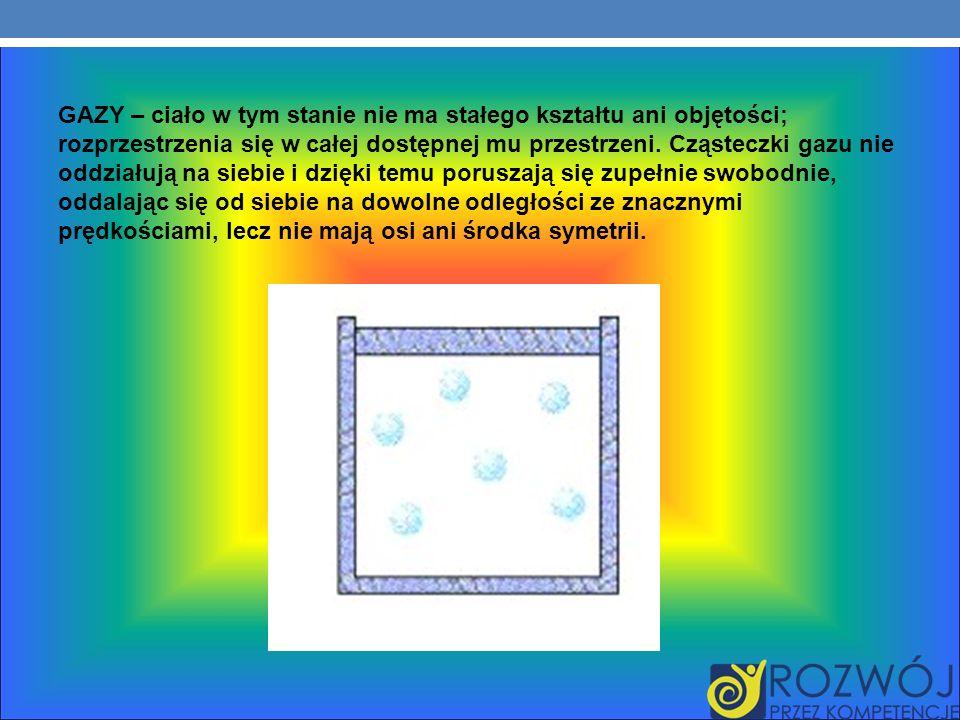 GAZY – ciało w tym stanie nie ma stałego kształtu ani objętości; rozprzestrzenia się w całej dostępnej mu przestrzeni.