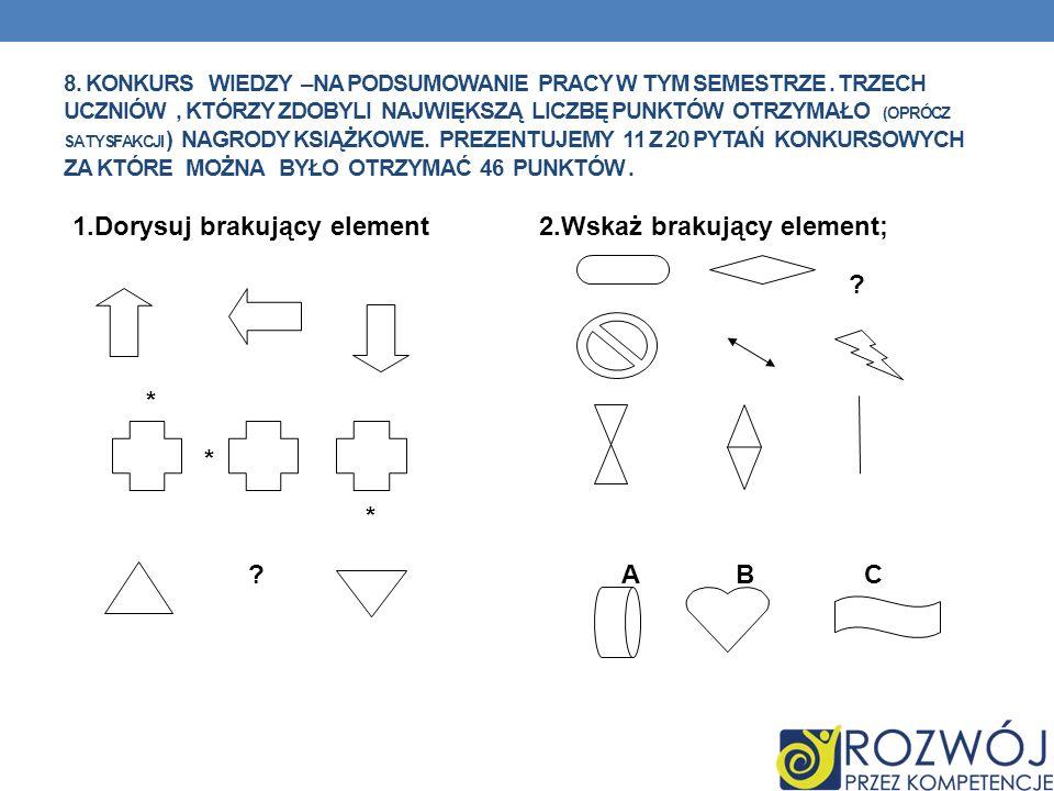 1.Dorysuj brakujący element 2.Wskaż brakujący element; * A B C