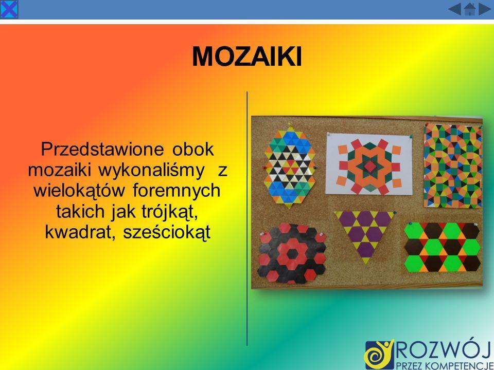 MOZAIKI Przedstawione obok mozaiki wykonaliśmy z wielokątów foremnych takich jak trójkąt, kwadrat, sześciokąt.
