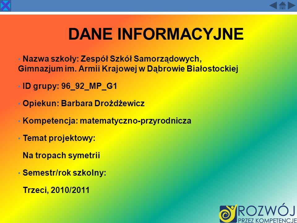 DANE INFORMACYJNE Nazwa szkoły: Zespół Szkół Samorządowych, Gimnazjum im. Armii Krajowej w Dąbrowie Białostockiej.