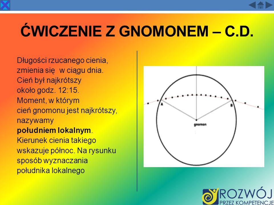 ĆWICZENIE Z GNOMONEM – C.D.